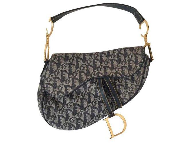 Dior saddle Handbags Cloth Navy blue ref.139106