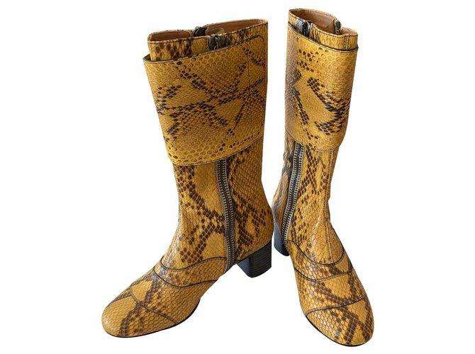 Chloé Lexie boot Chloé yellow in python Ankle Boots Python Python print,Yellow ref.139138