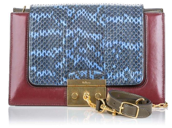 Mulberry Mulberry Red Python Pembroke Shoulder Bag Handbags Leather,Other Red,Blue ref.139220