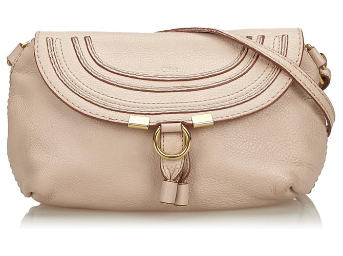 Chloé Chloe Brown Small Leather Marcie Crossbody Bag Handbags Leather,Other Brown,Beige ref.139231