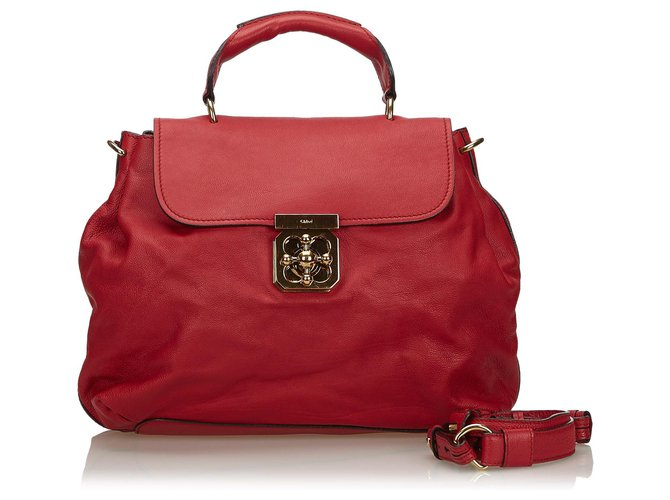 Chloé Chloe Red Leather Elsie Satchel Handbags Leather,Other Red ref.139232