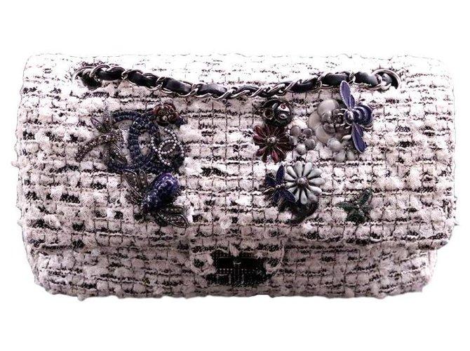 Sacs à main Chanel Chanel sac Classique 2.55 collector bucolique en tweed noir & blanc métallerie argentée Tweed Autre ref.139308