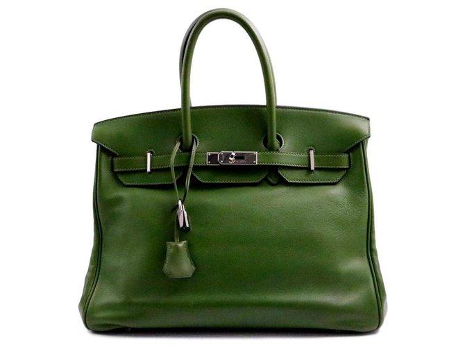 Sacs à main Hermès Hermès sac Birkin 35 en cuir de veau Evergrain vert olive Square M métallerie argentée Cuir Vert ref.139309
