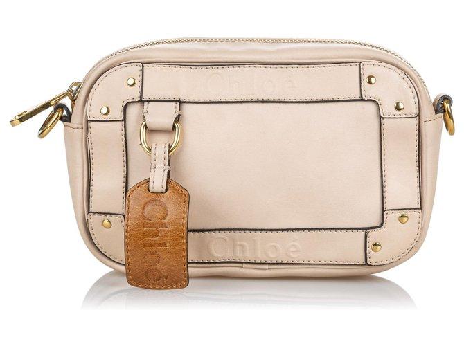 Chloé Chloe White Leather Eden Crossbody Bag Handbags Leather,Other White ref.139347