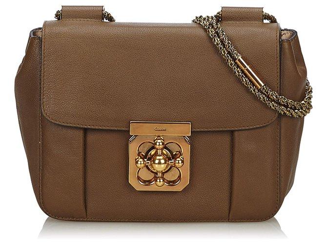 Chloé Chloe Brown Leather Elsie Shoulder Bag Handbags Leather,Other Brown,Dark brown ref.139385
