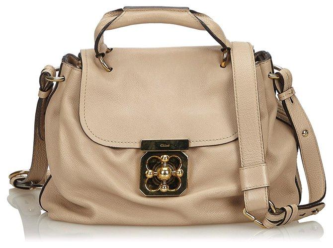 Chloé Chloe Brown Leather Elsie Satchel Handbags Leather,Other Brown,Beige ref.139404