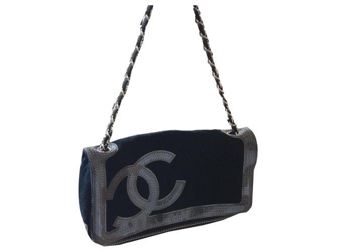 Sacs à main Chanel Sacs à main Suede,Tweed Noir ref.139654