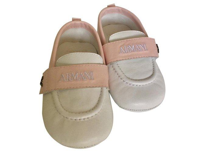 Armani Ballet flats Ballet flats Leather Pink,White ref.139659