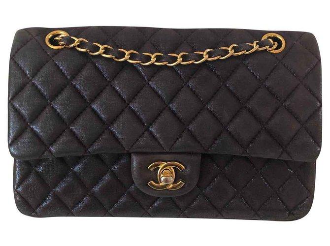 Chanel TIMELESS Handbags Leather Purple ref.139763