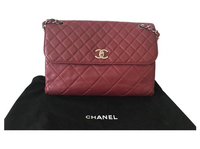Chanel Handbags Handbags Leather Red ref.140012