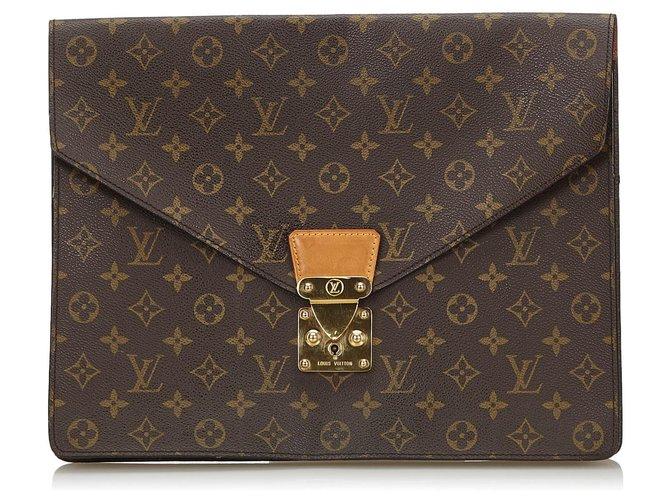 Louis Vuitton Louis Vuitton Brown Monogram Porte Documents Senateur Misc Cloth Brown ref.140077