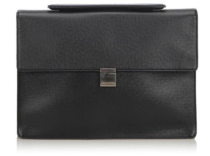 Louis Vuitton Louis Vuitton Black Taiga Porte-Document Angara Briefcase Misc Leather,Other Black ref.140106