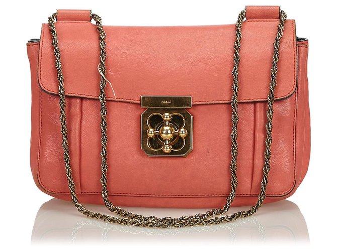 Chloé Chloe Orange Leather Elsie Shoulder Bag Handbags Leather,Other Orange ref.140210