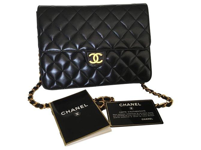 Chanel Classic timeless Chanel bag Handbags Lambskin Black ref.140351