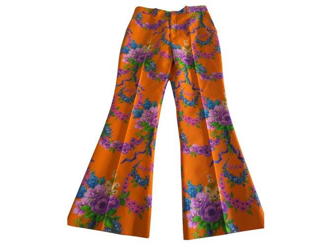 Pantalons Gucci Pantalon Gucci Soie,Laine,Viscose Orange ref.140404