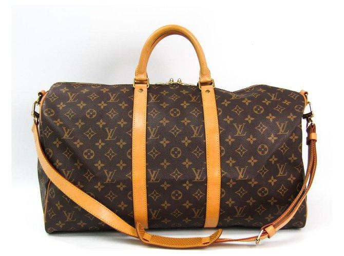 Louis Vuitton Louis Vuitton Brown Monogram Keepall Bandouliere 50 Travel bag Leather,Cloth Brown ref.140432