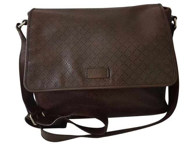Gucci Bags Briefcases Bags Briefcases Leather Dark brown ref.140536