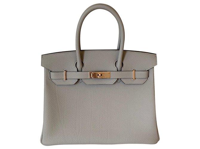 Hermès Hermes Gris Tourterelle Togo 30CM Rose Gold Hardware Handbags Leather Grey ref.140554