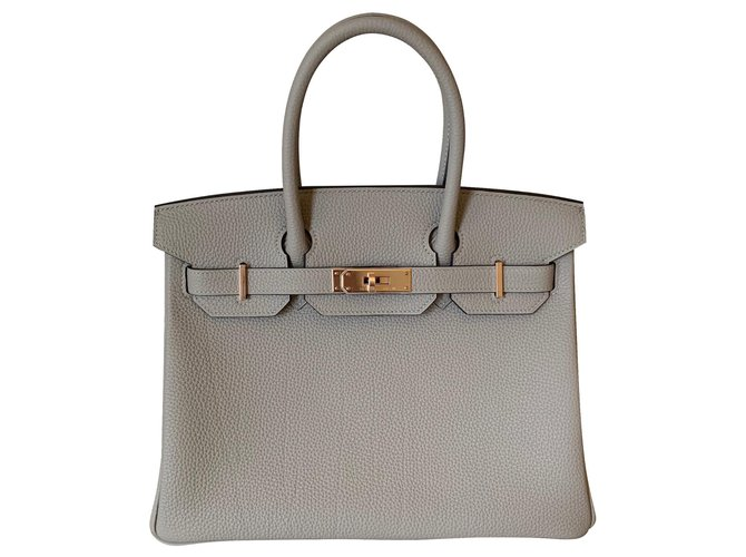 Sacs à main Hermès Hermès Gris Tourterelle Togo 30Matériel CM Rose Gold Cuir Gris ref.140554