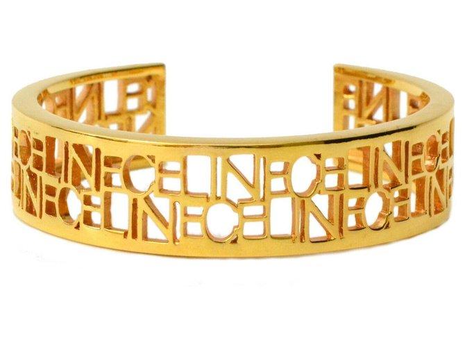Bracelets Céline Bracelet Logo Céline Plaqué or Doré ref.140773