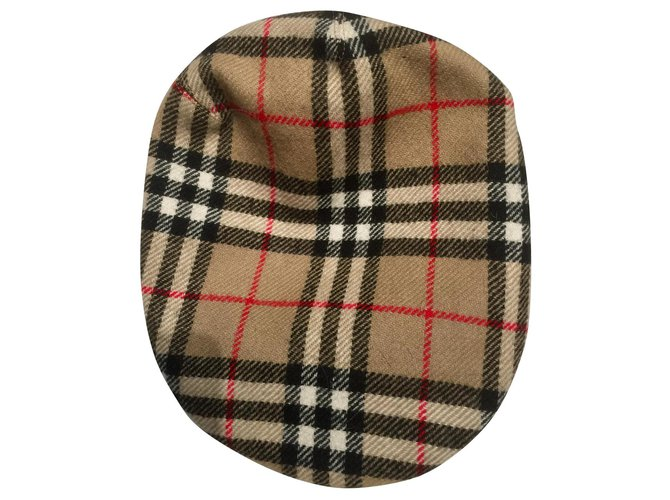 Burberry Flat Cap Hat Hats Wool Brown,Black,White,Red ref.140818