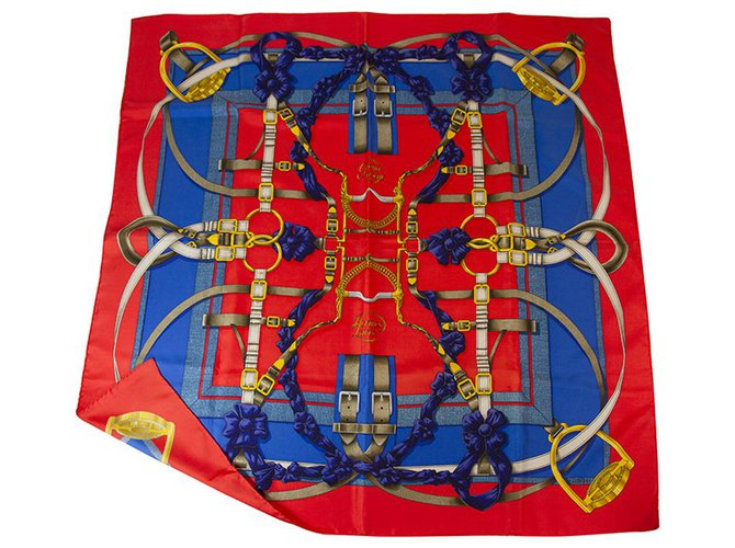 Hermès Hermes Red Grand Manege Silk Scarf by Henri d' Origny 88*88cm Silk scarves Silk Multiple colors ref.140845