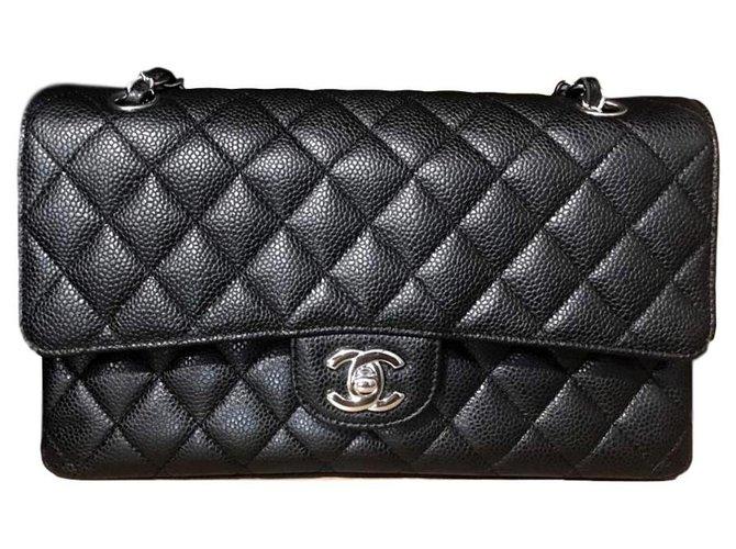 Chanel Chanel black caviar medium classic flap bag SHW Handbags Leather Black ref.155408