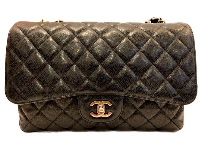 Chanel Chanel black caviar Jumbo classic flap bag SHW Handbags Leather Black ref.140923