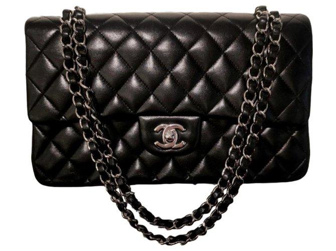 Chanel Chanel black lambskin medium classic flap bag GHW Handbags Leather Black ref.140924