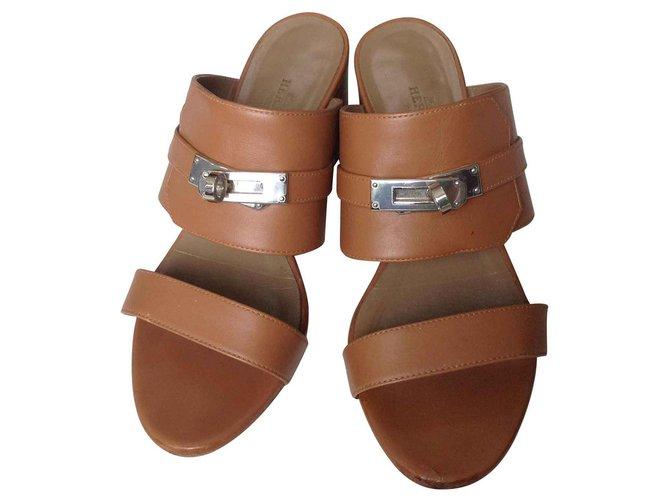 Hermès Kelly sandals Sandals Leather Caramel ref.140933