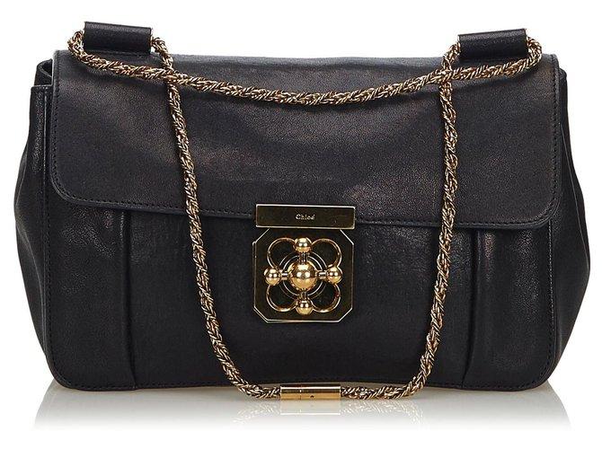 Chloé Chloe Black Leather Elsie Shoulder Bag Handbags Leather,Other Black ref.140981