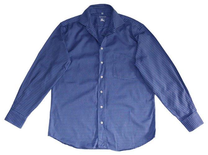 Burberry Camisas Camisas Algodão Azul ref.141228