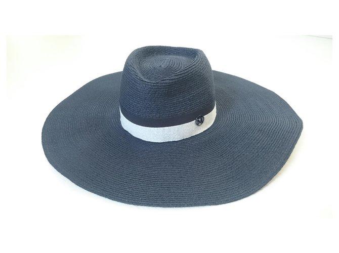 Maison Michel Capeline ELODIE Hats Viscose,Straw Grey,Navy blue,Dark blue ref.141386
