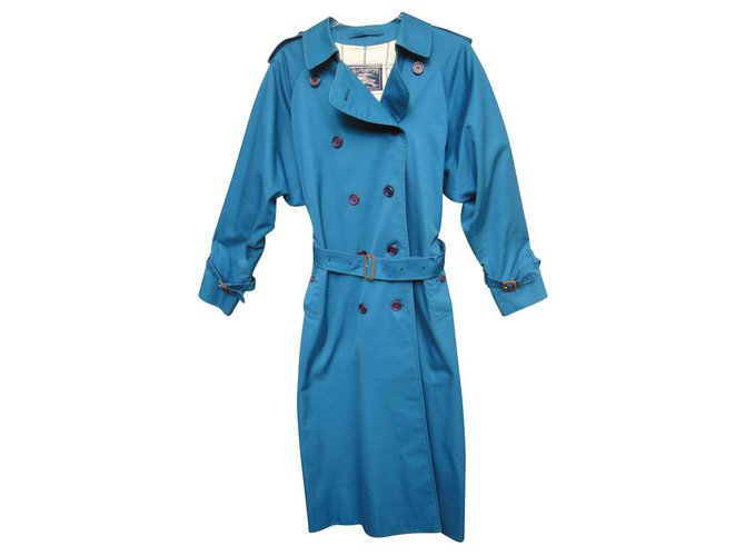 Burberry Burberry Vintage Trencher 40 Color Blue France, Mint condition Trench coats Cotton,Polyester Blue ref.141400