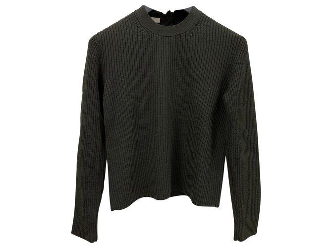 Prada Ribbed Wool Sweater In Military Green Color Knitwear Wool Olive Green Ref 141506 Joli Closet