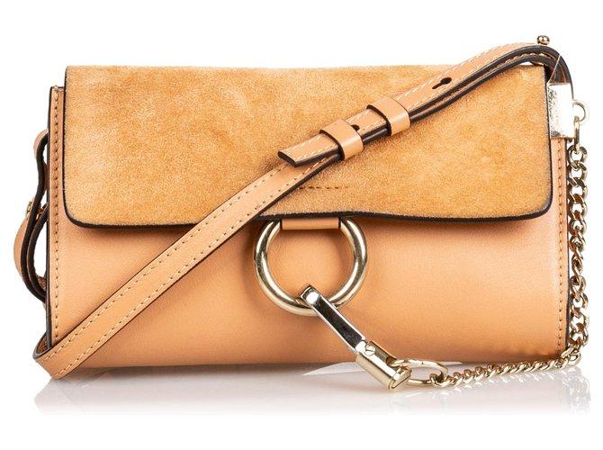 Chloé Chloe Brown Suede Faye Crossbody Bag Handbags Suede,Leather,Other Brown,Light brown ref.141791