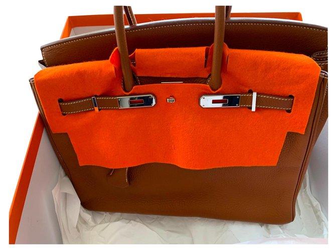 Hermès Birkin Handbags Leather Caramel ref.141851