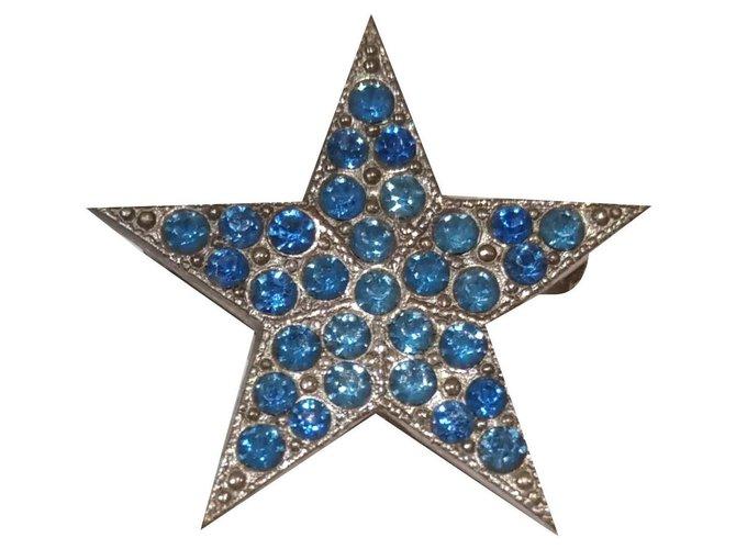 Broches Saint Laurent Broches et broches Métal,Verre Argenté,Bleu ref.141902