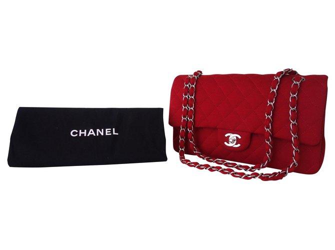 Chanel KLASSISCHE CHANEL TASCHE JERSEY ROT Handtaschen Andere Rot ref.142060