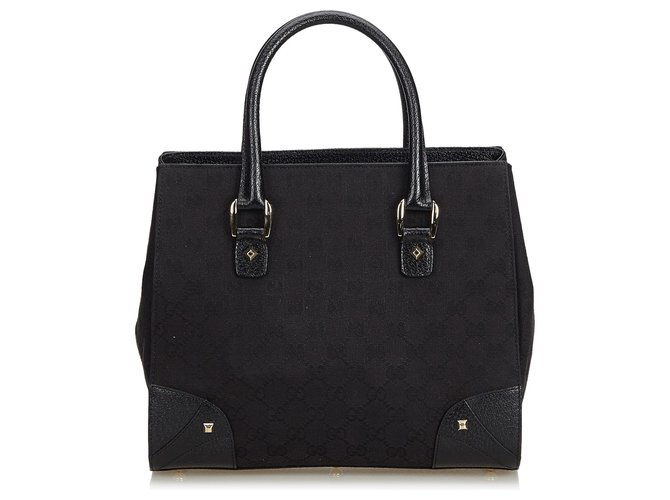 Cabas Gucci Gucci Black GG Jacquard Sac cabas Cuir,Autre,Tissu Noir ref.142129
