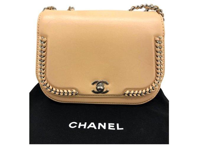 Sacs à main Chanel Sac à main beige tressé Chanel Cuir Beige ref.142207