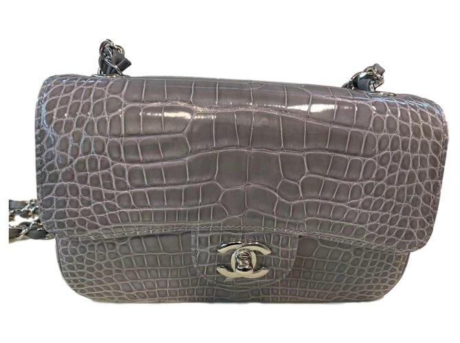 Chanel Timeless alligator bag Handbags Exotic leather Grey ref.142243