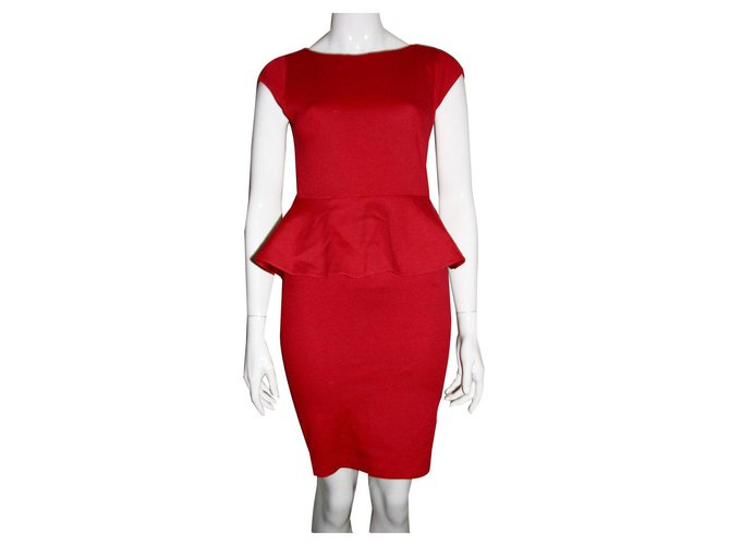 Alice Olivia Red Peplum Dress Dresses Polyester Acetate Red Ref 142263 Joli Closet