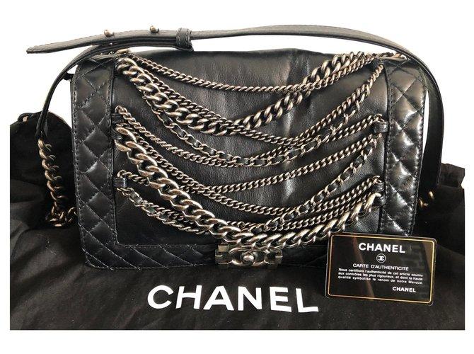 Chanel Handtaschen Handtaschen Lammfell Schwarz,Silber ref.142305