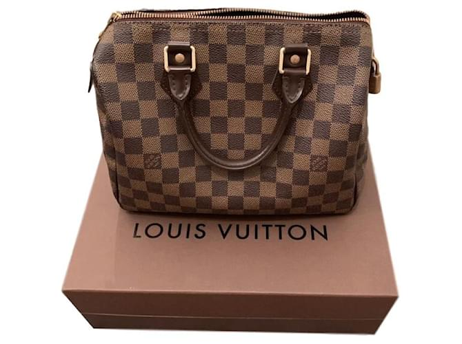 Louis Vuitton Speedy 25 ébano Damier Bolsas Couro Marrom Ref 142399 Joli Closet