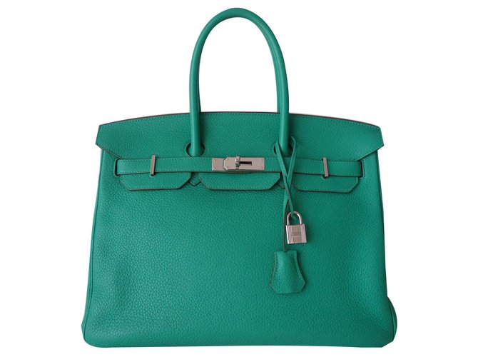 Hermès HERMES BIRKIN BAG 35 mint Handbags Leather Green ref.142534