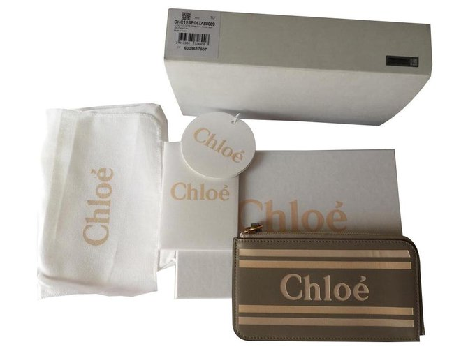 Chloé Vick card wallet Purses, wallets, cases Leather Beige ref.142698