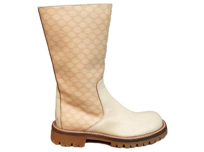 Céline Céline size biker boots 36 1/2 Ankle Boots Leather Beige ref.142863