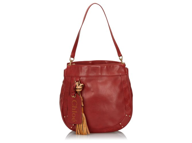 Chloé Chloe Red Leather Eden Tote Bag Handbags Leather,Other Red ref.142996