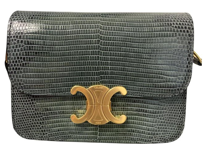 Céline CELINE TEEN TRIOMPHE BAG IN LIZARD NEW Handbags Exotic leather Grey ref.143010